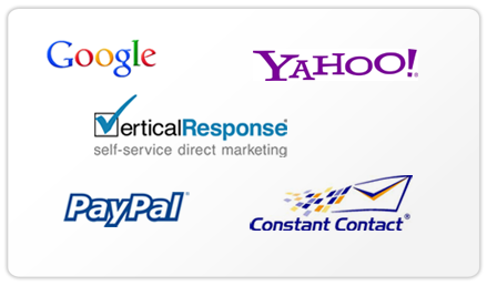 Logos of Trusted Partners Google, Yahoo, VerticalResponse, PayPal and Constant Contact